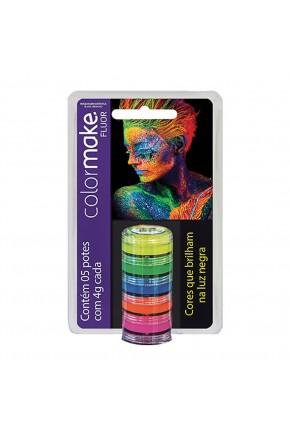 cartela tinta cremosa facial fluorescente neon colormake atacado 5 cores artistica