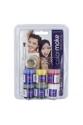 kit color make 6 pincel glitter tinta facial site